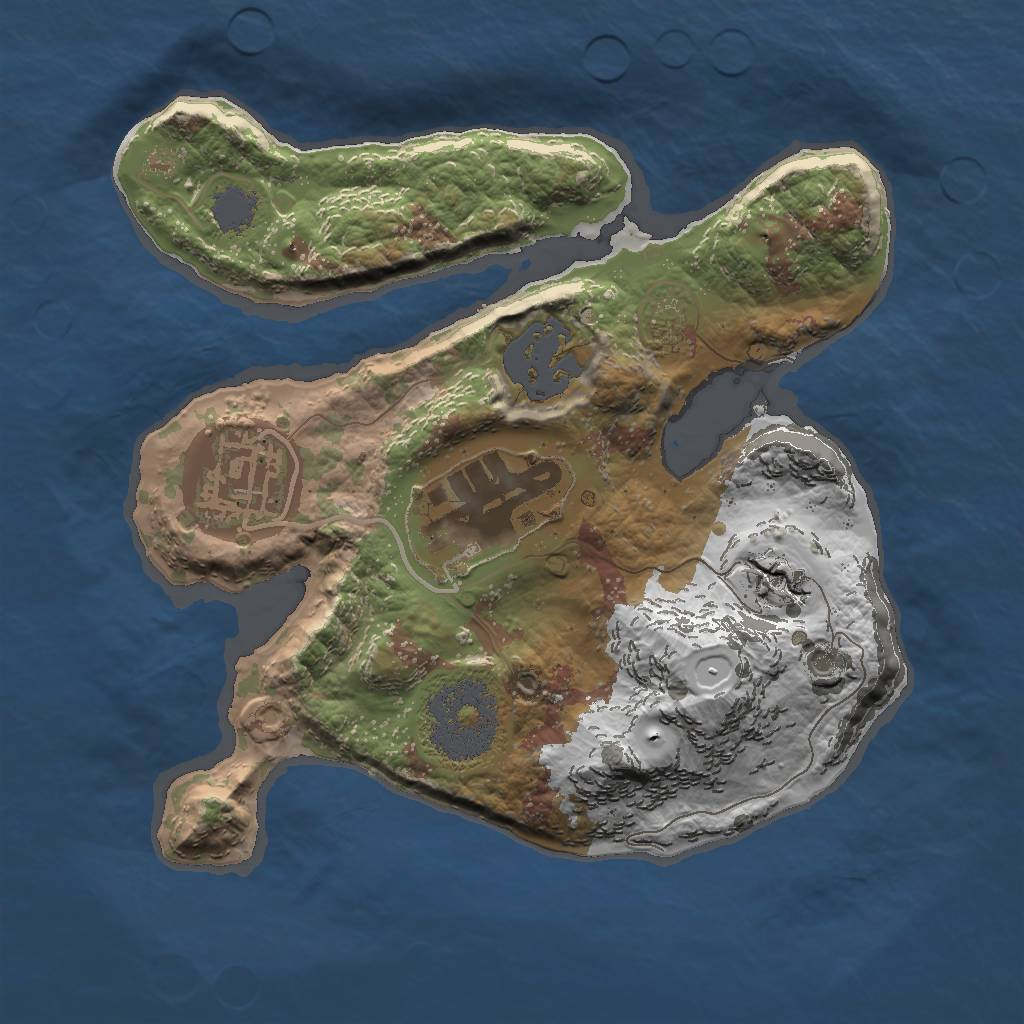 Rust Map: Procedural Map, Size: 2000, Seed: 509, 6 Monuments