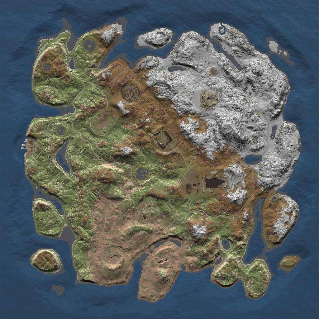 Rust Map: Procedural Map, Size: 4000, Seed: 9854, 13 Monuments