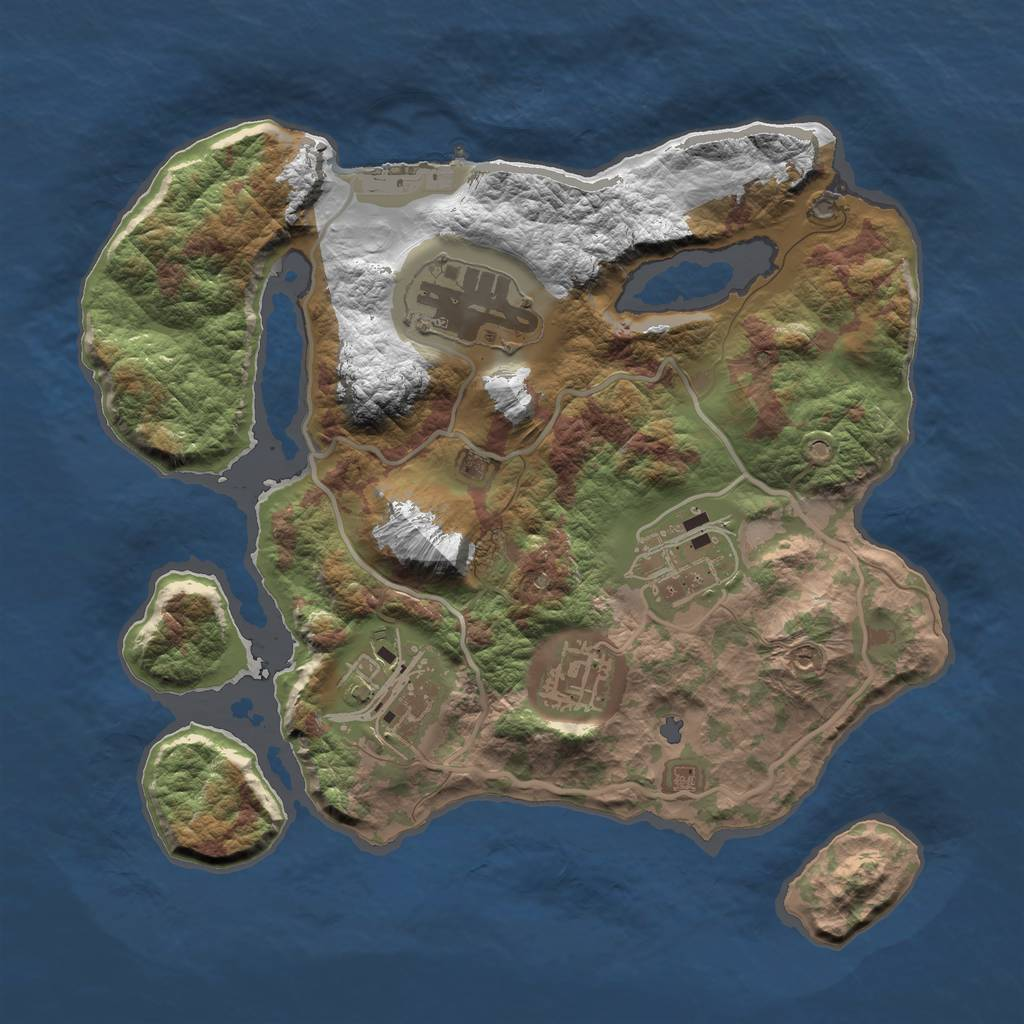 Rust Map: Barren, Size: 2500, Seed: 2052021, 8 Monuments
