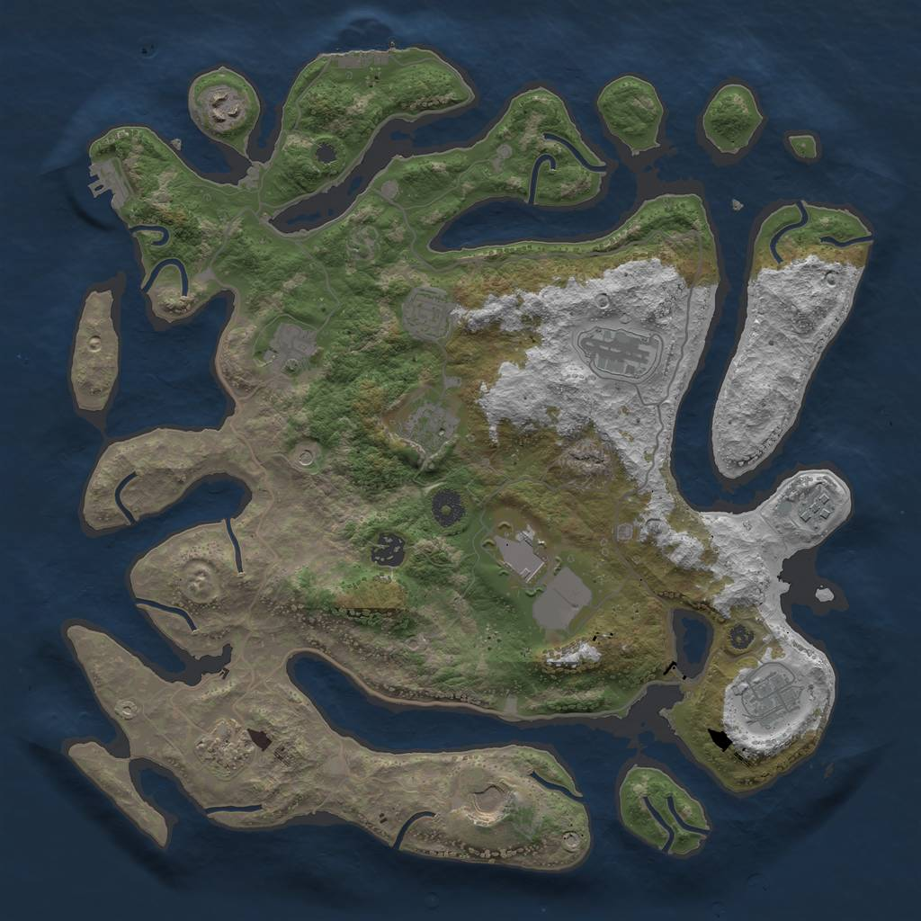 Rust Map: Procedural Map, Size: 4000, Seed: 68245151, 16 Monuments