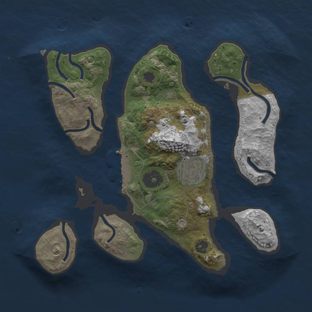 Rust Map: Procedural Map, Size: 2500, Seed: 43534, 4 Monuments