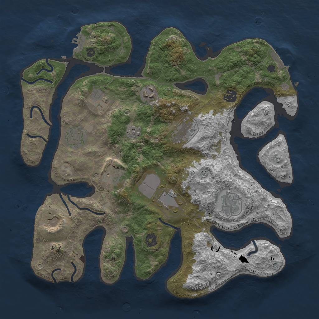Rust Map: Procedural Map, Size: 3600, Seed: 1375127173, 15 Monuments
