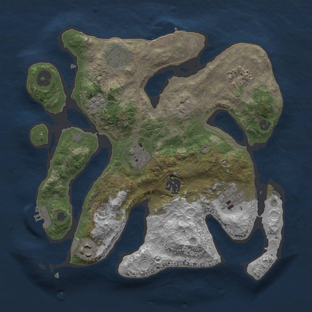 Rust Map: Procedural Map, Size: 3000, Seed: 1387769111, 15 Monuments