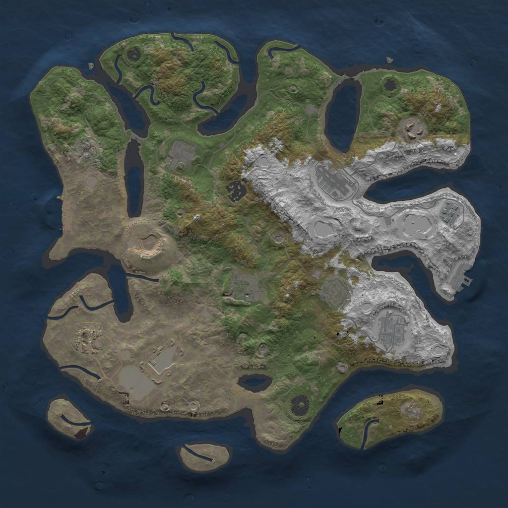 Rust Map: Procedural Map, Size: 3800, Seed: 2130757399, 19 Monuments