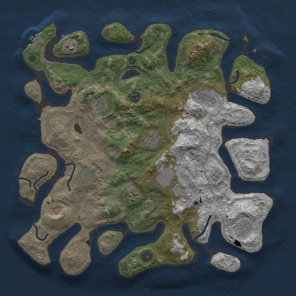 Rust Map: Procedural Map, Size: 4000, Seed: 834483613, 19 Monuments