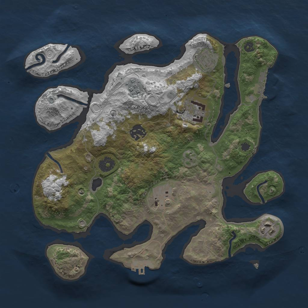 Rust Map: Procedural Map, Size: 3000, Seed: 872350941, 13 Monuments