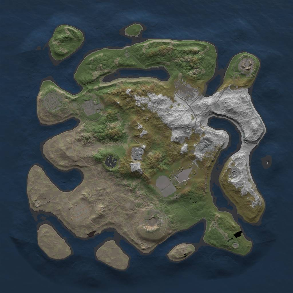 Rust Map: Barren, Size: 3700, Seed: 324570024, 12 Monuments
