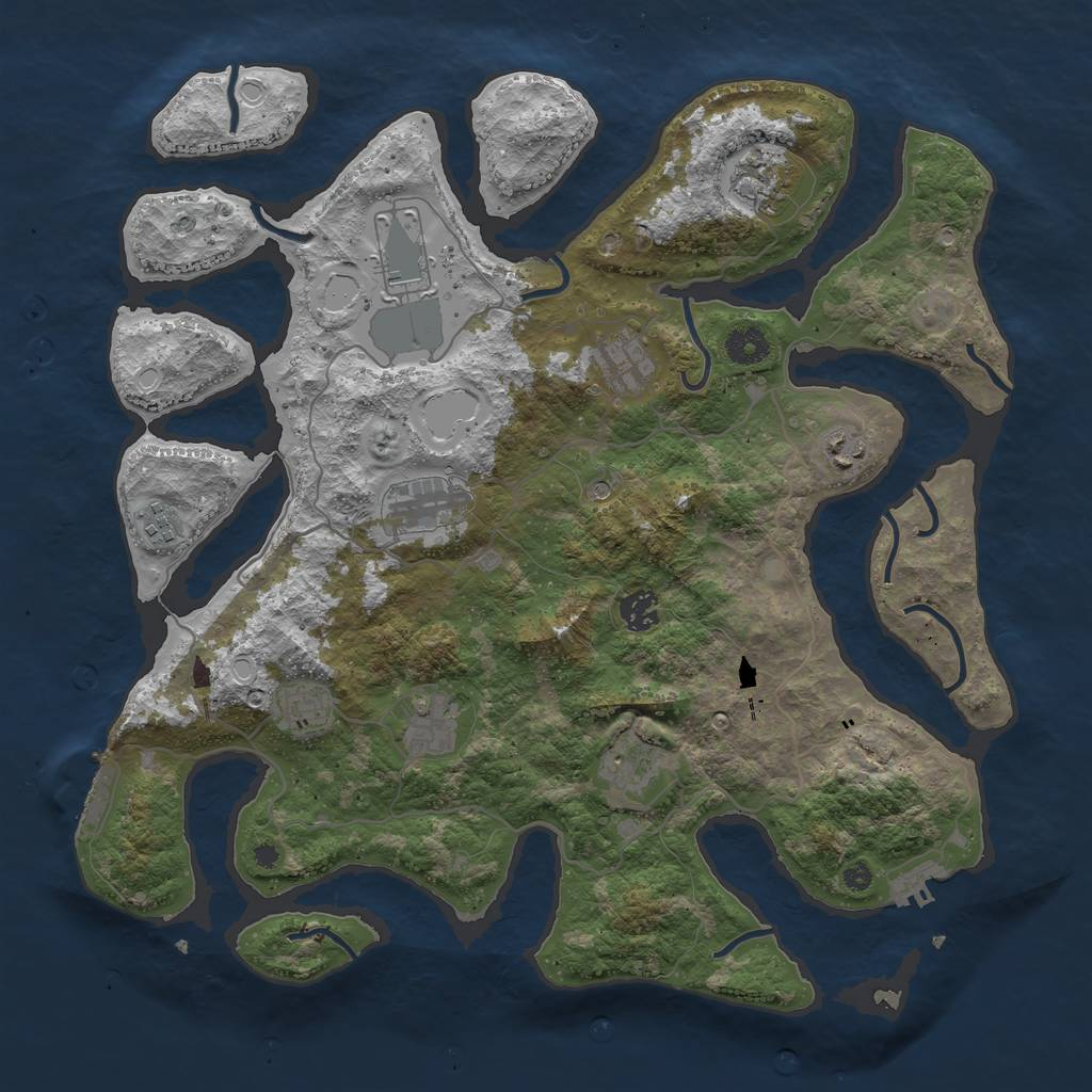Rust Map: Procedural Map, Size: 4000, Seed: 5478, 18 Monuments