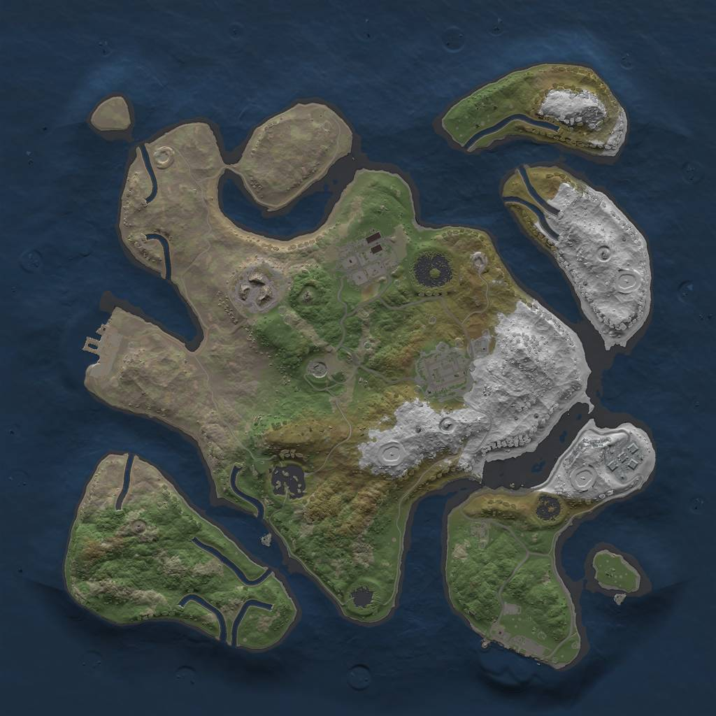 Rust Map: Procedural Map, Size: 3000, Seed: 154913300, 13 Monuments