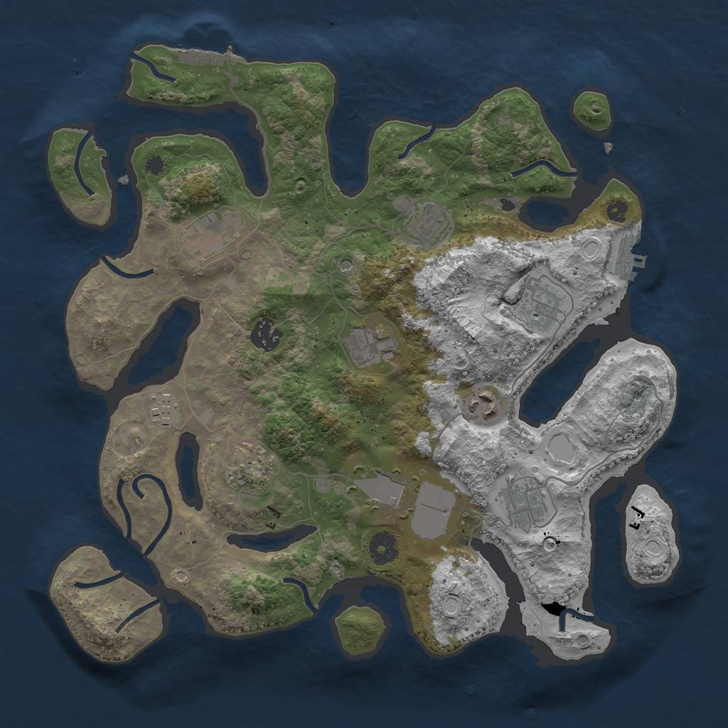 Rust Map: Procedural Map, Size: 3500, Seed: 381418014, 18 Monuments
