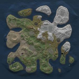 Thumbnail Rust Map: Procedural Map, Size: 3700, Seed: 194461688, 19 Monuments