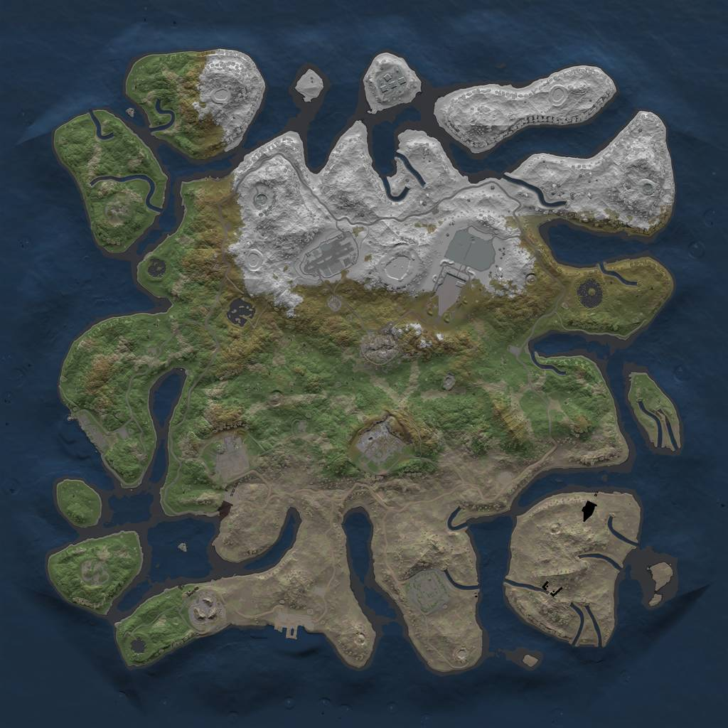 Rust Map: Procedural Map, Size: 4100, Seed: 133, 16 Monuments