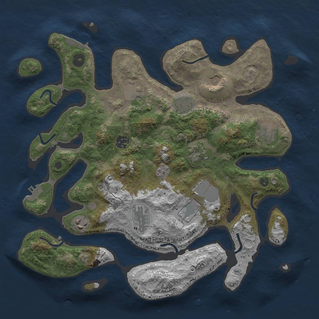 Rust Map: Procedural Map, Size: 3700, Seed: 112261475, 18 Monuments