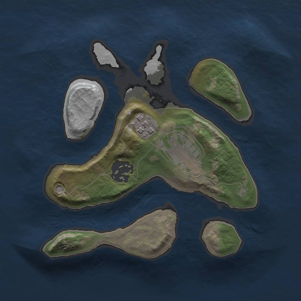 Rust Map: Barren, Size: 2000, Seed: 14567445, 5 Monuments