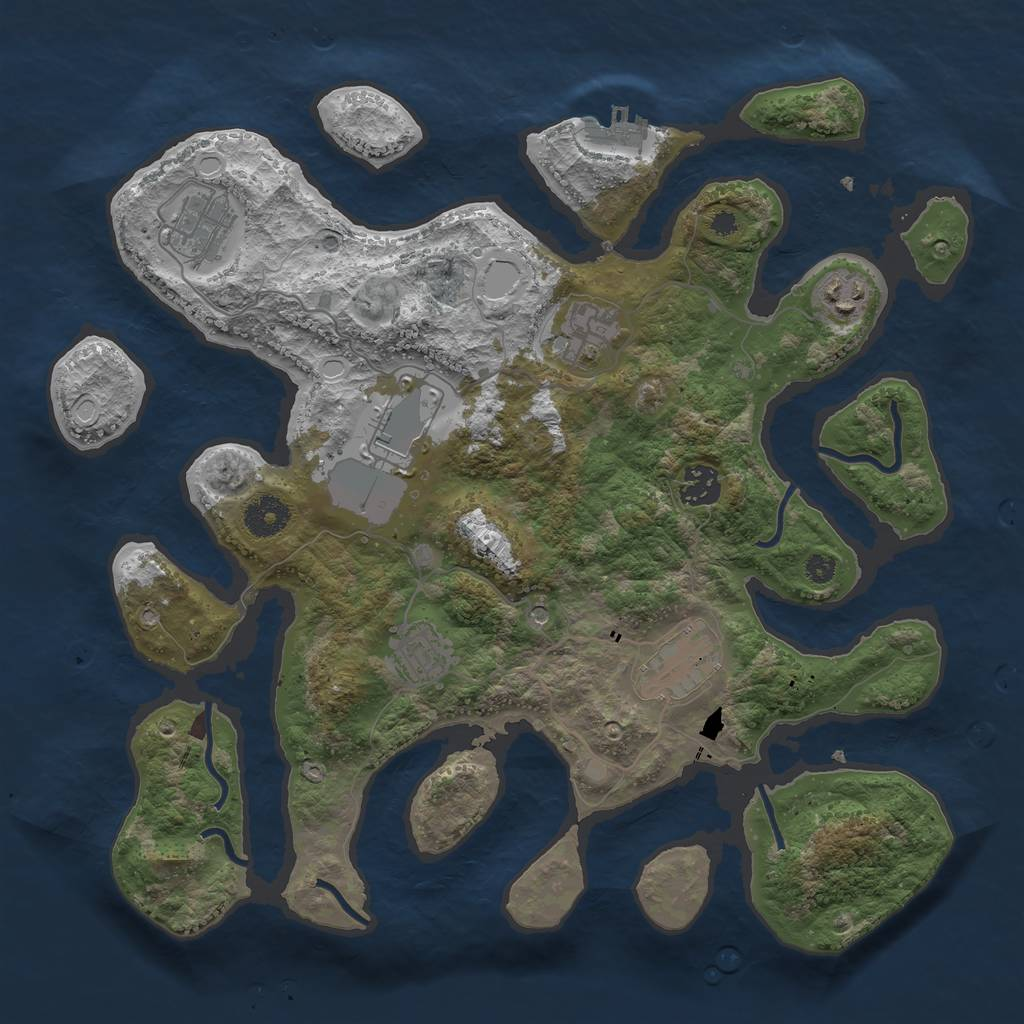 Rust Map: Procedural Map, Size: 3600, Seed: 111097220, 14 Monuments