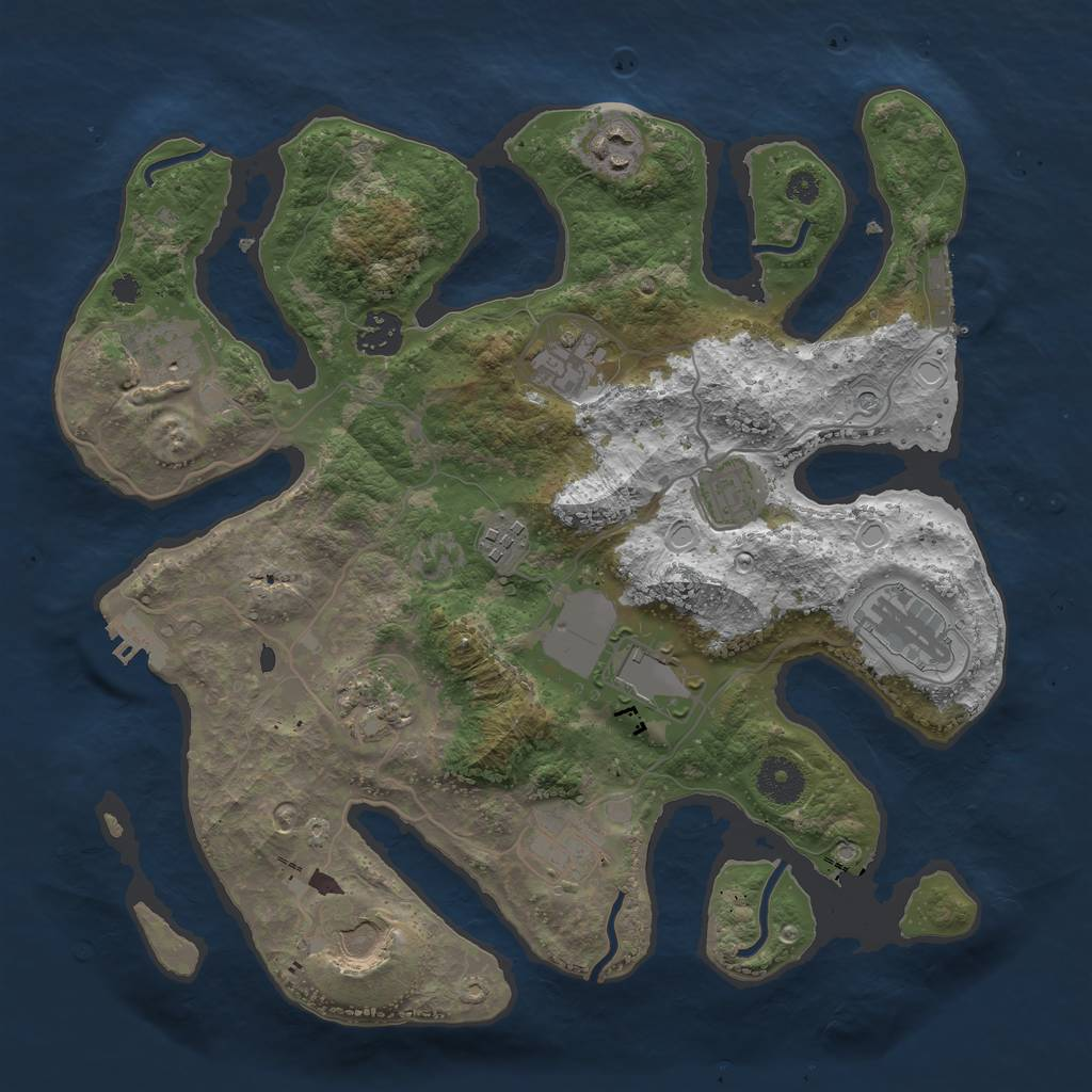 Rust Map: Procedural Map, Size: 3500, Seed: 762780067, 19 Monuments