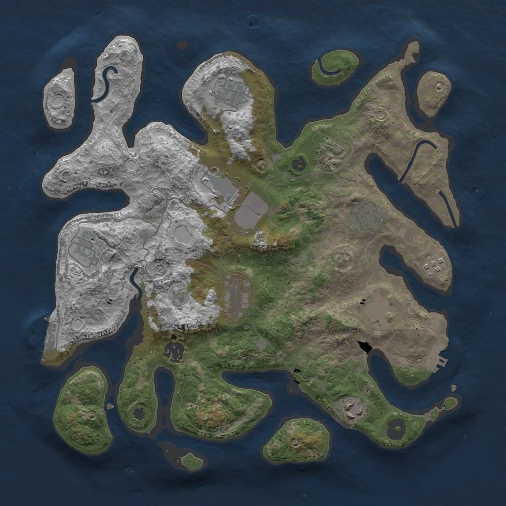 Rust Map: Procedural Map, Size: 3700, Seed: 13911293, 18 Monuments