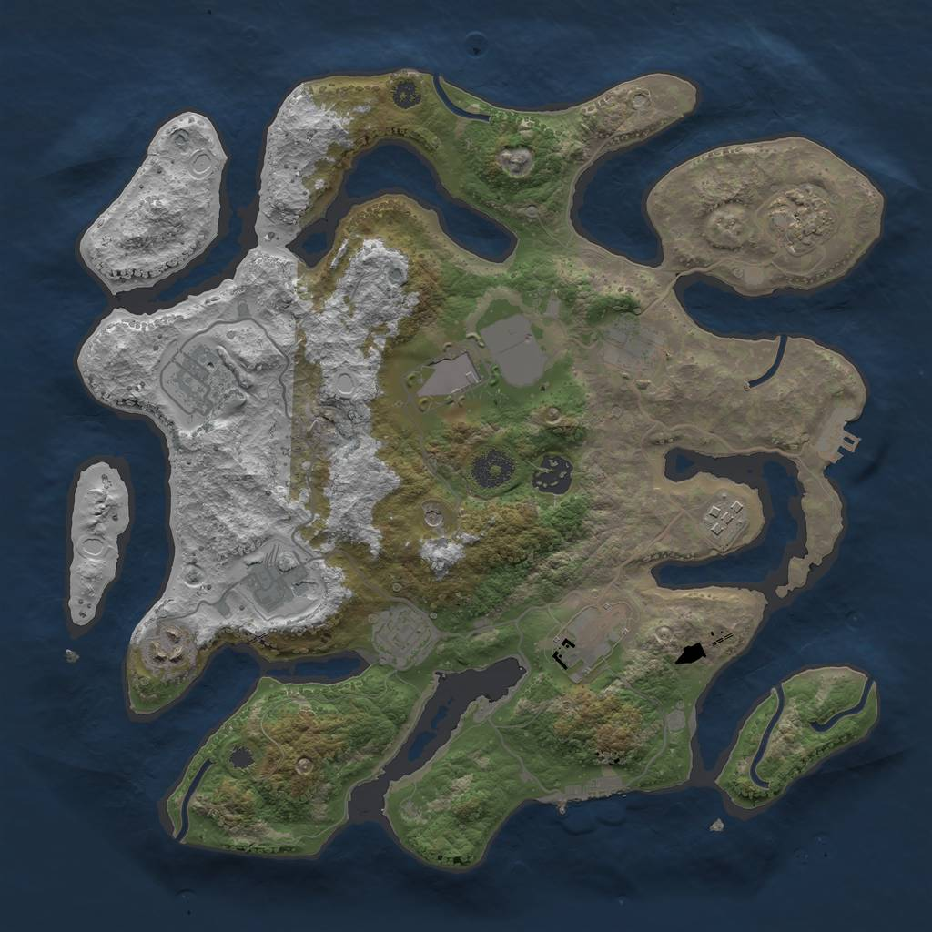 Rust Map: Procedural Map, Size: 3500, Seed: 772349009, 18 Monuments