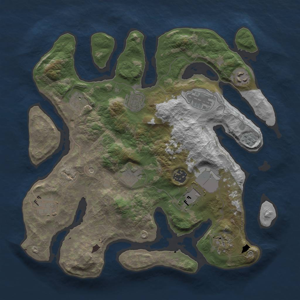 Rust Map: Barren, Size: 3500, Seed: 1656801559, 13 Monuments