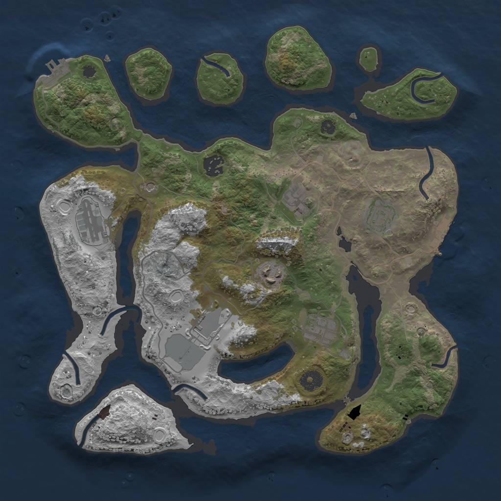 Rust Map: Procedural Map, Size: 3500, Seed: 3000251, 15 Monuments