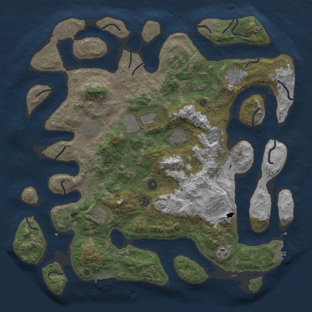 Rust Map: Procedural Map, Size: 4500, Seed: 1859969619, 18 Monuments