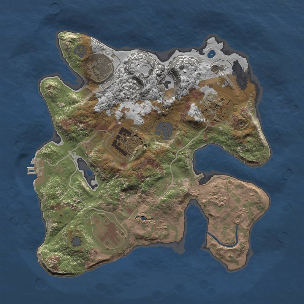 Rust Map: Procedural Map, Size: 2500, Seed: 1, 10 Monuments
