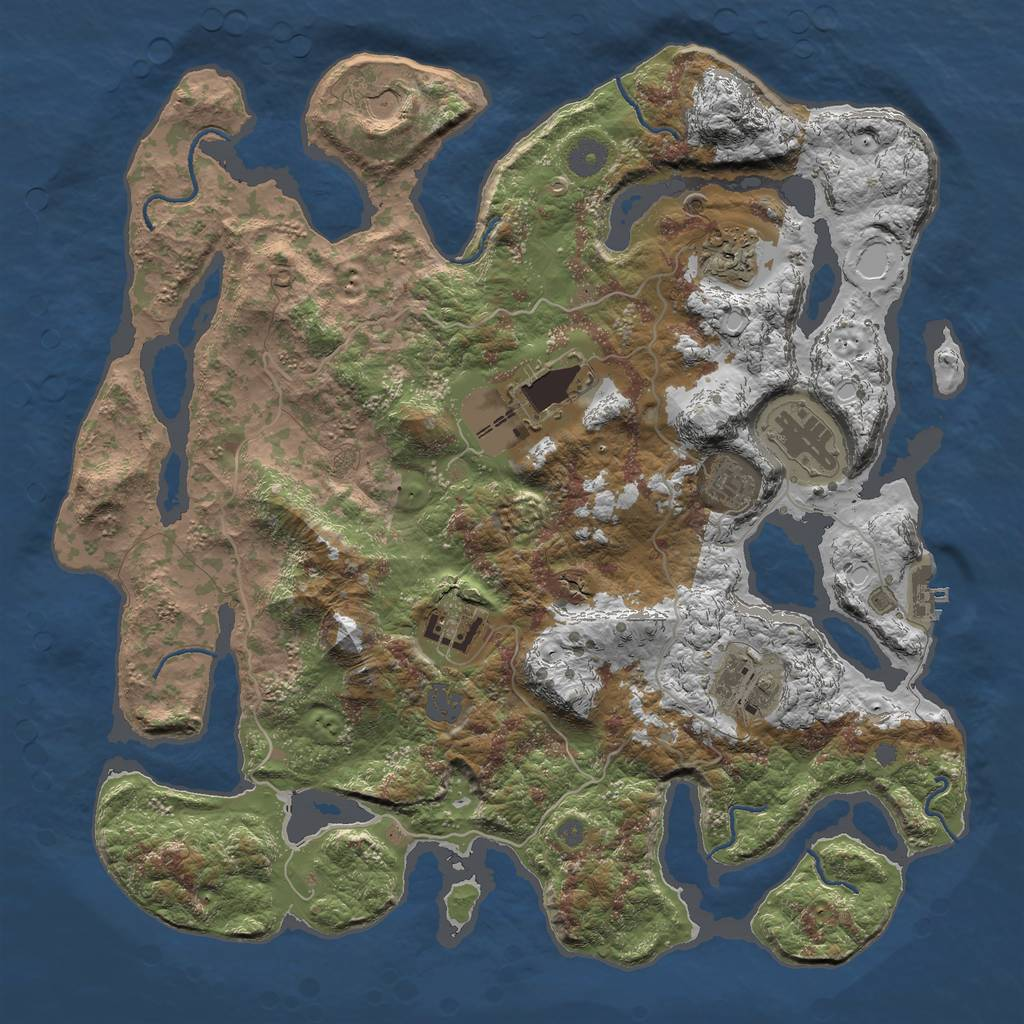 Rust Map: Procedural Map, Size: 4000, Seed: 29, 13 Monuments